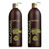 Kativa Pack Macadamia Champu 1000ml + Acondicionador 1000ml Sin Sulfatos Sil Sal...