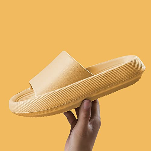 URIBAKY - Pantuflas de secado rápido para mujer, para parejas, sandalias de casa, zapatillas de interior, elegantes sandalias con correas, cómodas, planas, Amarillo (amarillo), 38 EU
