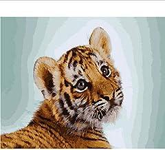 Frameloze Schilderen op Nummers Kleurplaten voor Home Decor Muur Decor Canvas Schilderen 40 * 50 Cm Jonge Tijger