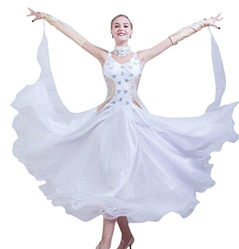 NAKOKOU Dance Ballroom Competition Crystal Dresses Modern Waltz Foxtrot Standard Ballroom Dress for Women(White,M)