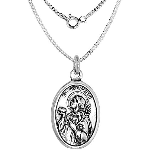 Sterling Silver St Stephen Medal Necklace Oval 18 inch 1.8mm Chain