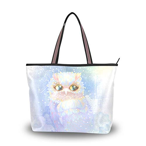 Merry Christmas Owl Dreamy Snowflake Tote Bag Handbags Light Weight Strap Purse Shopping for Women Girls Ladies Student Shoulder Bags