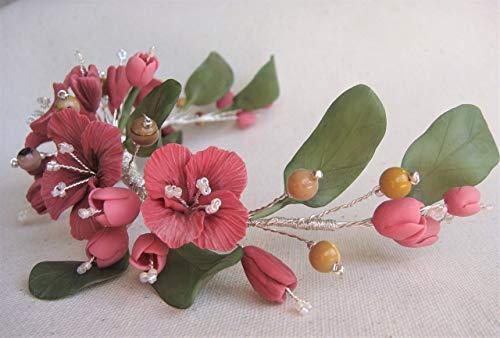 Tocado de Flores Rosa viejo con hojas verdes y piedras Mookaita. Flore
