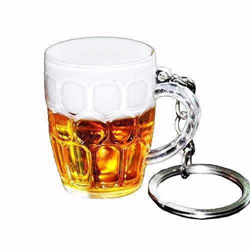 Duoying Portachiavi di simulazione, Portachiavi di birra artificiale Mini Boccale di birra Portachiavi Creativo Resina Artigianato