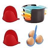 Ysislybin Cortador de huevos 3 en 1, cuecehuevos, 3 huevos y 1 par de guantes antiquemaduras de silicona, cortadores de huevos, alambre de acero inoxidable, cortador de fresas y frutas