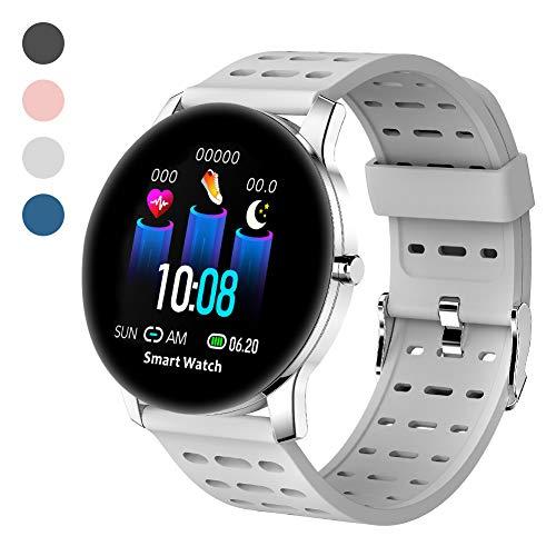 Polywell Fitness-Tracker, Smartwatch Aktivitätstracker mit Herzfrequenz-Monitor und Schlaf-MonitorSchrittzähler und Kalorienzähler (Grau)