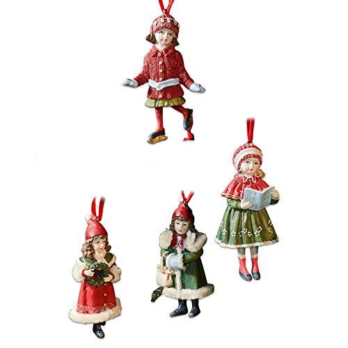 Loberon Anhänger 4er Set Nostalgic, Weihnachtsdeko, Christbaumschmuck, Polyresin, Polyester, H/B/T ca. 10/5 / 5 cm, rot/grün