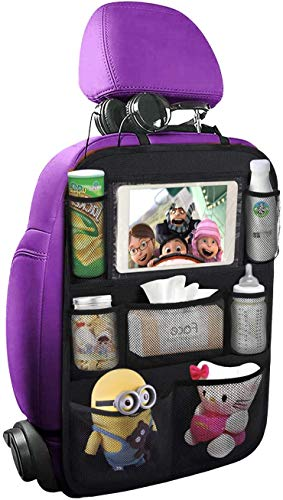 ONE PIX Car Backseat Organizer with Touch Screen Tablet Holder + 7 Storage Pockets, Kick Mats Seat Back Protectors for Kids and Toddlers Premium Vehicle Travel Accessories (1 Pack)