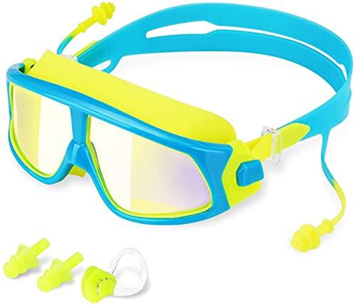 Phantom simglasögon för barn, Anti-dimma Inga läckande skyddsglasögon Barns simning UV-skydd med öronproppar och näsklämma Klar simmaska för barn