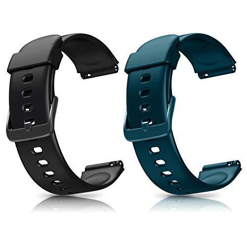 Letsfit ID205L Smartwatch Ersatz Armbänder, verstellbare Smartwatch Ersatzbänder für ID205L Fitness Armbanduhr, mit 2er-Pack, Schwarz + Grün