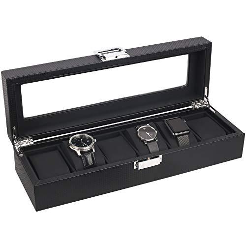 YXZQ Cigar Humidor Diseño de Fibra mantello 6-Caja de Reloj de Carbono con la Tapa de Cristal Cigar Storage and Moisturizing