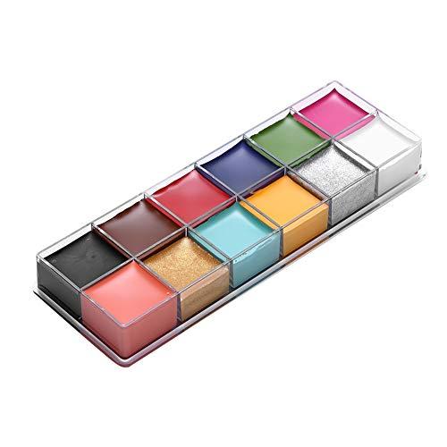 Face Body Paint Oil, professionelle 12-Farben-Make-up-Palette - ungiftige hypoallergene sichere Gesichtsfarben für Erwachsene und Kinder Ideal für...
