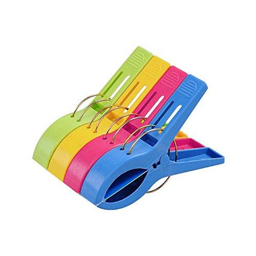 TRIXES Packung mit 8 großen Leuchtend farbigen Kunststoffklammern für Wäsche Strandtuch Sonnenliege Solarium