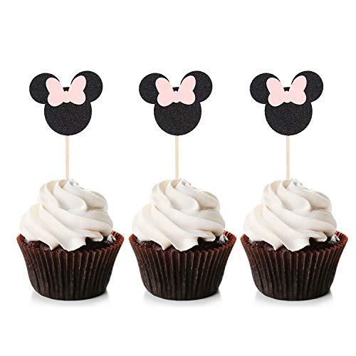 Unimall Global 24 Stück Minnie Mouse inspirierte Cupcake Topper mit rosa Schleife Black Glitter Cupcake Picks Babyparty Kinder Geburtstagsfeier Kuchen Dekorationen