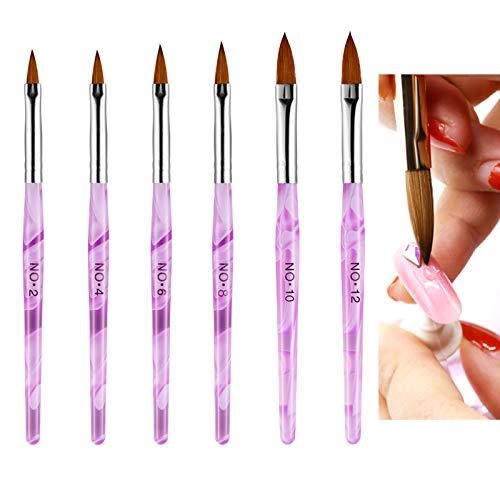 Ealicere 6Pcs Gelnagel Pinsel,Nail Art Nagel Stift für DIY Nagel Kunst Design Malerei Salon und Hause Gebrauch