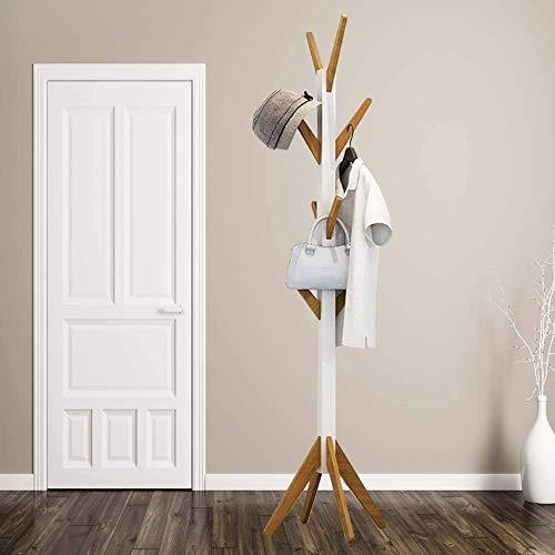 HS-Lighting - Perchero de madera con 8 ganchos, perchero de pie para la entrada del pasillo u oficina (altura: 178,5 cm)