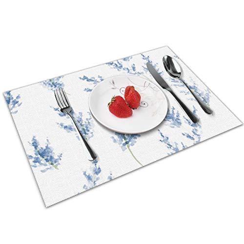 Juego de 4 manteles individuales N/A para mesa de comedor, color azul acuarela Lavanda bandeja de charola lavable para cocina mesa de cena, suave y ligero