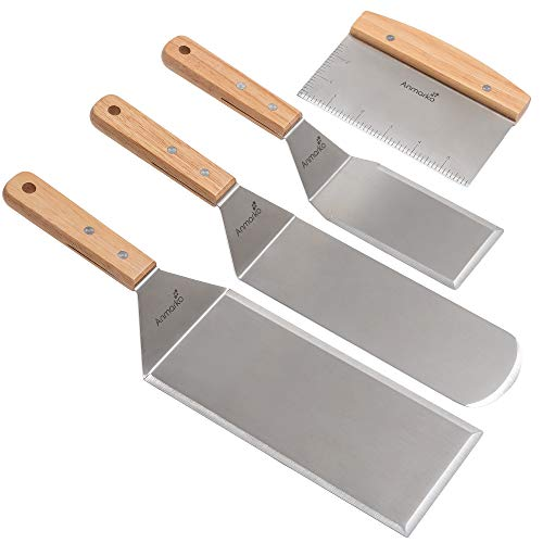 Stainless Steel Metal Spatula Set - Teppaniyaki Spatulas - Griddle Scraper Flat Spatula Pancake Flipper Hamburger Turner - Metal Utensil great for BBQ Grill Flat Top Cast Iron Griddle Accessories