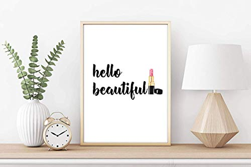 Kunstdruck Din A4 ungerahmt Hello beautiful Gesicht Lippenstift Kosmetik Beauty Salon Druck, Poster, Bild