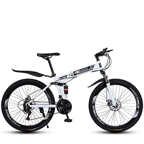 ZGYQGOO Pieghevole a velocità variabile 26 Pollici Mountain Bike, 21-24 - 27 Costi Leggeri Biciclette in Acciaio ad Alto Carbonio Telaio, Doppio Freno a Disco Bicicletta