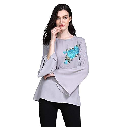 Dames shirt met lange mouwen Abaya moslim tops gebedsborduurwerk tuniek bloemen losse blouse T-shirt islamitisch geborduurde blouse trompet Dubai Arabisch etnische kleding Ramadan tops shirt