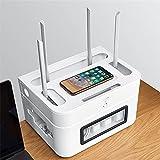 WJHMB Schwebendes TV-Regal WLAN-Router-Ständer Kabelsammler Aufbewahrungsbox Aus ABS Kunststoff mit Belüftung für Wohnzimmer Hotel Büro
