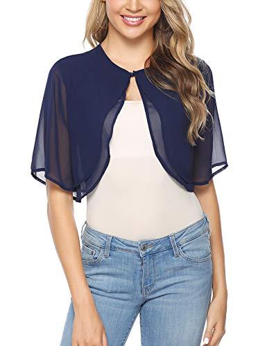 Abollria Women's Short Sleeve Bolero Sheer Chiffon Shrug Cardigan Navy Blue