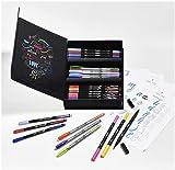BIC Intensity Kit de Rotuladores de Lettering con Punta Fina, Media y Doble (Pincel y Fina), Caja con 44