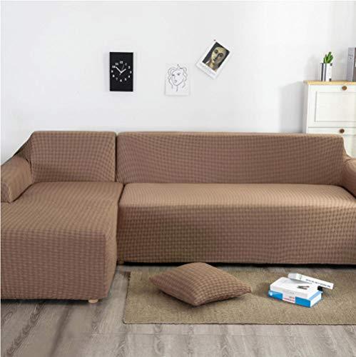 ARTEZXX Funda elástica para sofá de 1/2/3/4 plazas Color café Cubierta Antideslizante en Tejido elástico Extensible Protector de sofá Cobertura Total Universal Engrosada 4 plazas: 235-300 cm