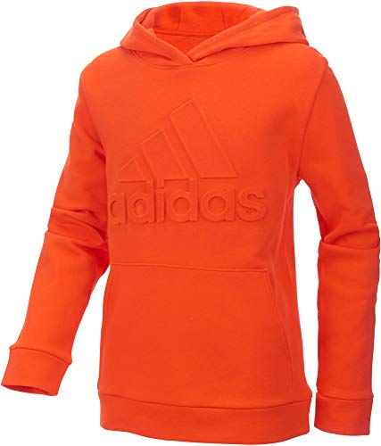 adidas Boys Exclusive Embossed Logo Hoodie (Orange, Small)