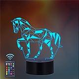 Luz de noche de caballo 3D con control remoto para sala de estar, bar, los mejores juguetes de anime regalos para niños y niñas