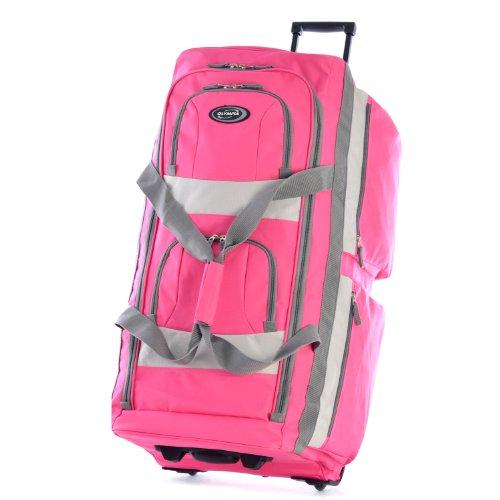Olympia 8 Pocket Rolling Duffel Bag, Hot Pink, 33 inch