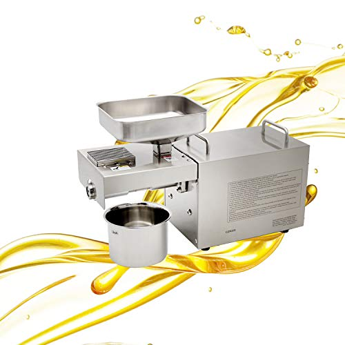 CGOLDENWALL 1500W Industrial heavy Automatic Oil Press Machine Nuts Seeds Oil Presser Pressing Machine Cold Hot Press All Stainless Steel High Oil Extractor CE (110V)
