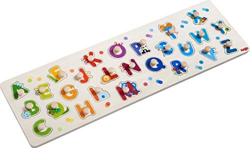 HABA 303188 - Greifpuzzle Mein erstes ABC | Holzpuzzle mit Buchstaben des Alphabets und lustigen Tiermotiven |Puzzle mit 26 Teilen | Holzspielzeug ab 2 Jahren