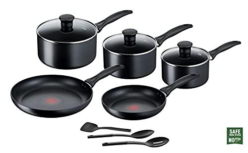 Tefal Induction G155S844 Non-Stick Cookware Set 8 Pieces-Black Batería de Cocina, Juego, cacerolas, inducción, De Aluminio