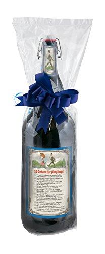 10 Gebote für Jünglinge - 3 Liter XXL-Flasche Bier mit Bügelverschluss in Folie mit Schleife