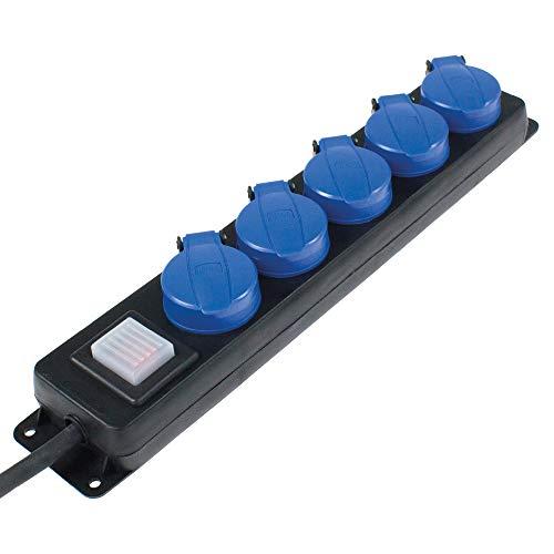 as - Schwabe 5-fach Verteilersteckdosenleiste mit Schalter – Schuko-Steckdosen im Mehrfachstecker mit 4,5 m Gummischlauchleitung & Sicherheitsklappdeckel – IP44 – Schwarz I 38605