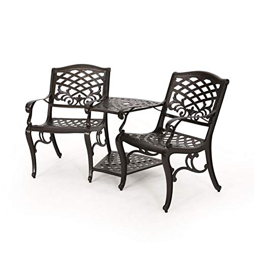Christopher Knight Home Sarasota Outdoor Cast Aluminum Adjoining Chair, Bronze