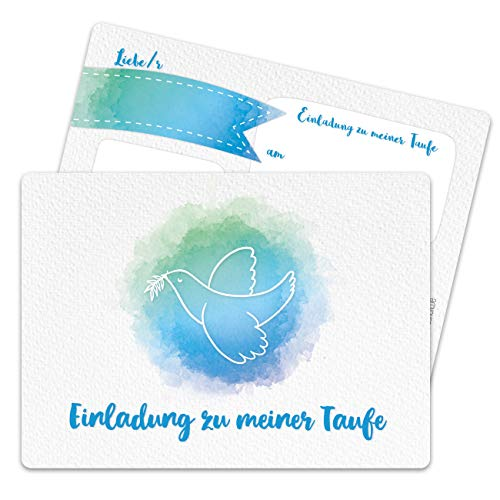 13 Einladungskarten zur Taufe - Motiv Taube aquarell blau - Einladung zur Heiligen Taufe für Mädchen und Jungen - hochwertig gedruckt in DIN A6