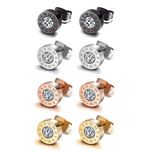 Flongo - Pendientes de botón de acero inoxidable, pendientes de color negro, oro rosa, plata, con circonitas y números romanos, para hombre y mujer (4pares-modelo2)
