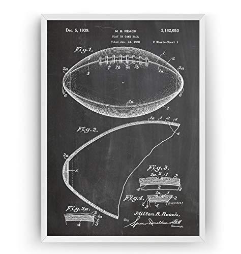 Amerikanischer Fußball 1939 Patent Poster - American Football Jahrgang Drucke Drucken Bild Kunst Geschenke Zum Männer Frau Entwurf Dekor Art Blueprint - Rahmen Nicht Enthalten