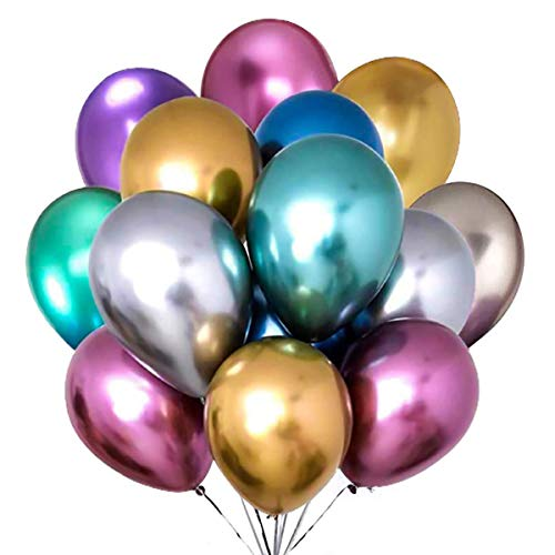 PASOCON 60Pcs 12 Inch Muiltcolor Chrome Balloons Pearl Metal Balloons Carnival Metallic Latex Balloon Decoration for Wedding Birthday Baby Shower Graduation Party