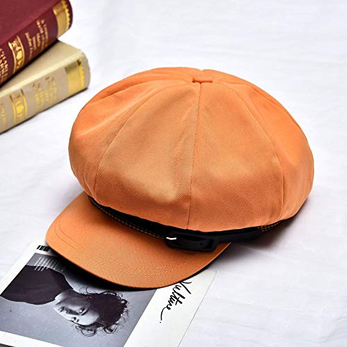 mlpnko Boina Sombrero Plano Retro Sombrero Octogonal británico Femenino código Naranja Salvaje