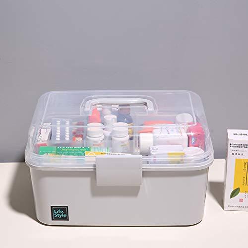 YYHSND Caja de Medicina del hogar Caja de Medicina Grande botiquín de Primeros Auxilios Caja de Medicina hogar niño bebé Kit de Medicina Gris 26x17x16.5cm botiquin