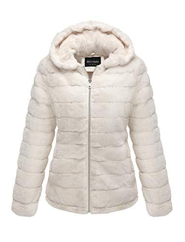 Bellivera Women's Faux Shearling Shaggy Coat,Fashion Long Sleeve Zip Up Jacket Hooded 1801 Beige M