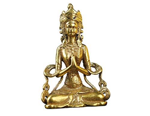 DMtse Brass Bodhisattva Statue Figurines Sitting Buddha Sculpture Home Office Pendant Decor Ornament Buddha Keeps Peace Collectibles Gift