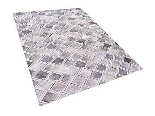 Beliani Natürlicher Lederteppich geometrisches Muster 160 x 230 cm Grau Agacli