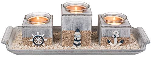 Deko Holztablett mit 3 Teelichthalter Dekosand Leuchtturm Anker Steuerrad ca. 40cm x 8,5cm Dekoteller Holz Teller Teelichter Meer Strand