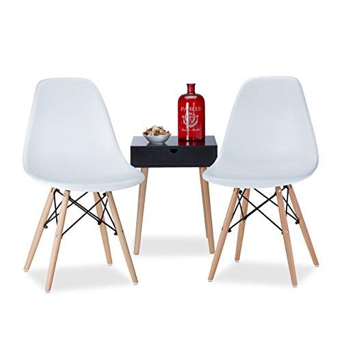 Relaxdays Chaise salle à manger design retro blanche ARVID lot de 2 moderne cuisine HxlxP: 82 x 47 x 55 cm, blanc
