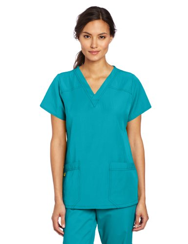 WonderWink Women's Scrubs Four Way Stretch Sporty V-Neck Top, Real Teal, XX-Large